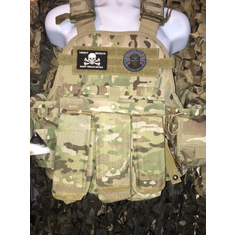 "Condor Multicam Skull/Taliban Plate Carrier With AK Molle and (2) 10 x 12"" Certified AR500 NIJ Compliant Plates"