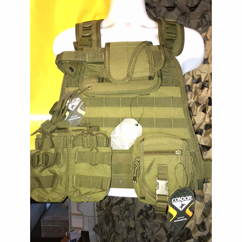 """Condor OD Plate Carrier With Molle and (2) 10 x 12"""" Certified AR500 NIJ Compliant Plates"""