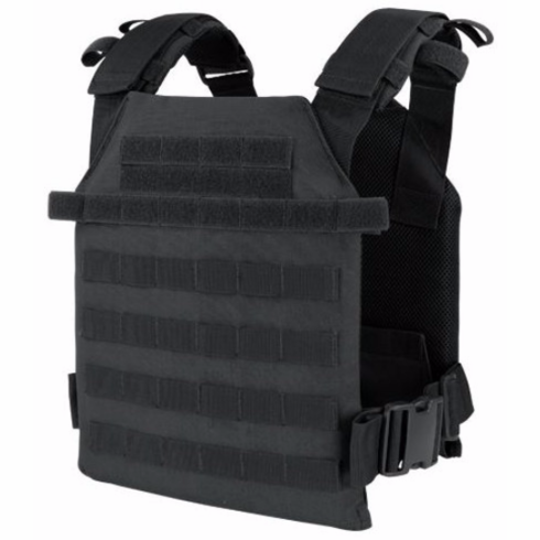 """Condor Sentry Black Plate Carrier With (2) 10 x 12"""" Certified AR500 NIJ Compliant Plates"""