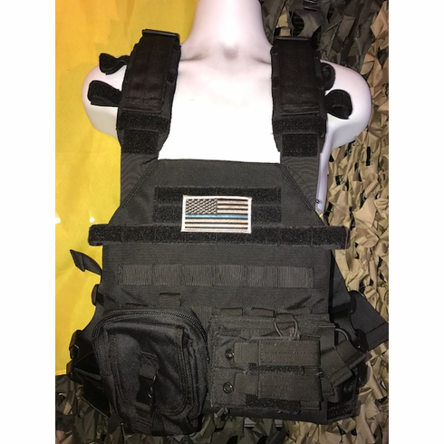 """Condor Sentry Black Plate Carrier With (2) 10 x 12"""" Certified AR500 NIJ Compliant Plates & Molle"""