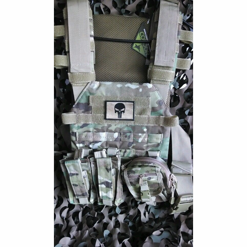 """Condor Sentry Punisher Multicam Plate Carrier With Molle and (2) 10 x 12"""" Certified AR500 NIJ Compliant Plates"""