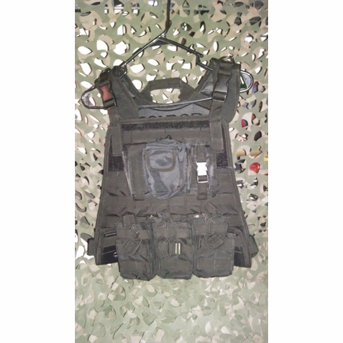 """Condor Tactical Black Plate Carrier With Molle and (2) 10 x 12"""" Certified AR500 NIJ Compliant Plates"""