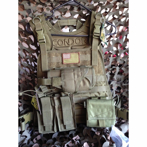 "Condor Tactical OD Plate Carrier With Molle and (2) 10 x 12"" Level III Certified AR500 NIJ Compliant Plates"