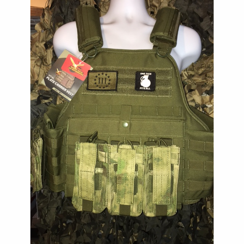 "Fox 3% Tactical OD Operator Plate Carrier With Molle and (2) 10 x 12"" Certified AR500 NIJ Compliant Plates"