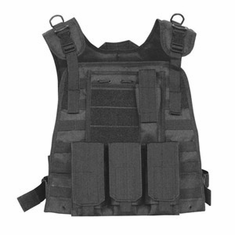 Fox Basic Plate Carrier Tactical Black & (2) Level III NIJ Certified Plates