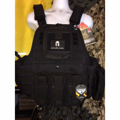 Fox Big Boy 3XL Plate Carrier Tactical Black & (2) Level III NIJ Certified Plates, Molon Labe Version, Side Plates