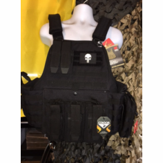 Fox Big Boy 3XL Plate Carrier Tactical Black & (2) Level III NIJ Certified Plates, Punisher Version, Side Plates