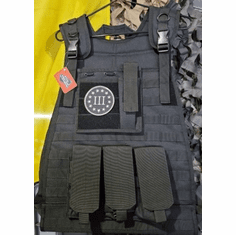 Fox III% 2X to 3X Plate Carrier Tactical Black & (2) Level III NIJ Certified Plates