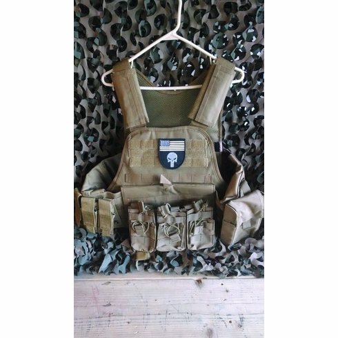 "Fox Punisher Tactical Coyote Premium Operator Plate Carrier With Molle and (2) 10 x 12"" Certified AR500 NIJ Compliant Plates & Side Plates"