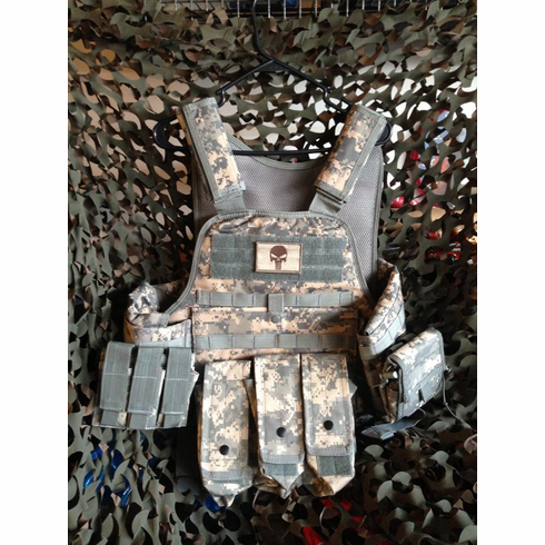 """Fox Tactical ACU Punisher Premium Operator Plate Carrier With Molle and (2) 10 x 12"""" Certified AR500 NIJ Compliant Plates & Side Plates"""