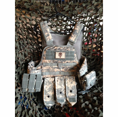 "Fox Tactical ACU Punisher Premium Operator Plate Carrier With Molle and (2) 10 x 12"" Certified AR500 NIJ Compliant Plates & Side Plates"
