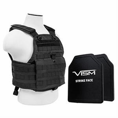 "Fox Tactical Black Operator Plate Carrier With Molle and (2) 10 x 12"" Vism Poly Level III+ Plates"