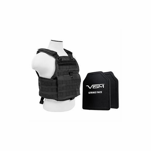 """Fox Tactical Black Operator Plate Carrier With Molle and (2) 10 x 12"""" Vism Poly Level III+ Plates"""