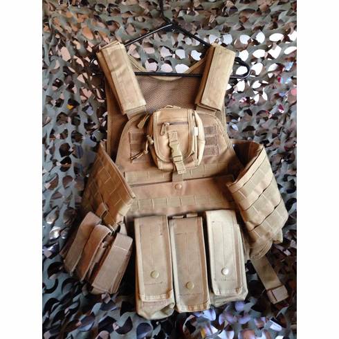 Fox Tactical Coyote Premium Operator Plate Carrier With Molle and (2) AR500 NIJ Certified Plates & Side Plates