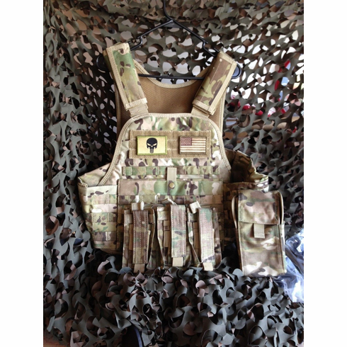 "Fox Tactical Multicam Premium Operator Plate Carrier With Molle and (2) 10 x 12"" Certified AR500 NIJ Compliant Plates & Side Plates"