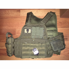 "Fox Tactical OD Premium Operator Plate Carrier With Molle and (2) 10 x 12"" Certified AR500 NIJ Compliant Plates & Side Plates"