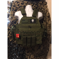 "LASD Rothco Punisher Tactical OD Operator Plate Carrier Includes (2) 10"" x 12"" Certified AR500 NIJ Compliant Plates & 6"" x 6"" Side Plates, All MOLLE Included As Shown!"
