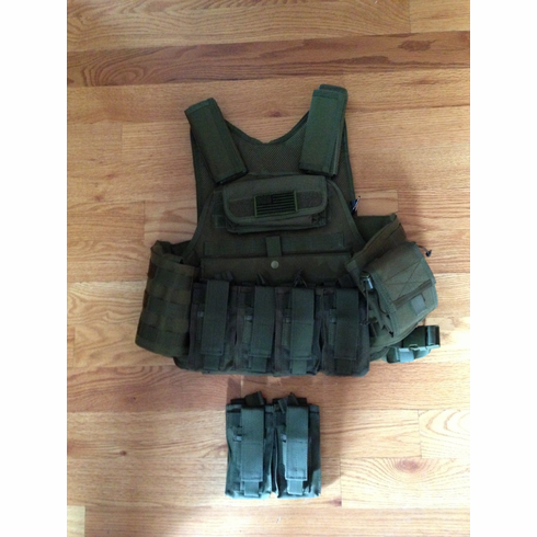 "LASD Rothco Tactical OD Premium Operator Plate Carrier With Molle and (2) 10 x 12"" Certified AR500 NIJ Compliant Plates & Side Plates"