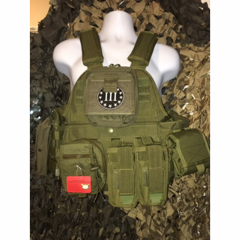 """Rothco 3% #2 Tactical OD Operator Plate Carrier Includes (2) 10"""" x 12"""" Certified AR500 NIJ Compliant Plates & 6"""" x 6"""" Side Plates, All MOLLE Included As Shown!"""