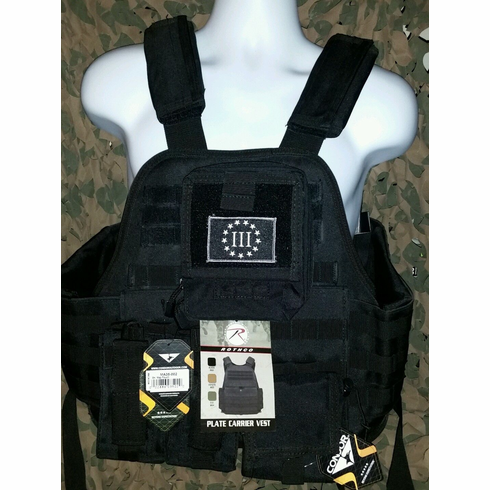 """Rothco 3% Tactical Black Operator Plate Carrier With Molle and (2) 10 x 12"""" Certified AR500 NIJ Compliant Plates & Holster, All MOLLE Included As Shown!"""