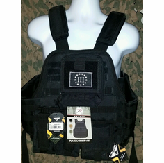"Rothco 3% Tactical Black Operator Plate Carrier With Molle and (2) 10 x 12"" Certified AR500 NIJ Compliant Plates & Holster, All MOLLE Included As Shown!"