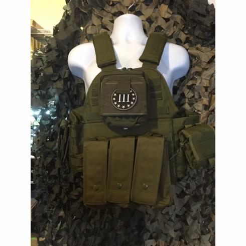 "Rothco 3% Tactical OD Operator Plate Carrier Includes (2) 10"" x 12"" Certified AR500 NIJ Compliant Plates & 6"" x 6"" Side Plates, All MOLLE Included As Shown!"