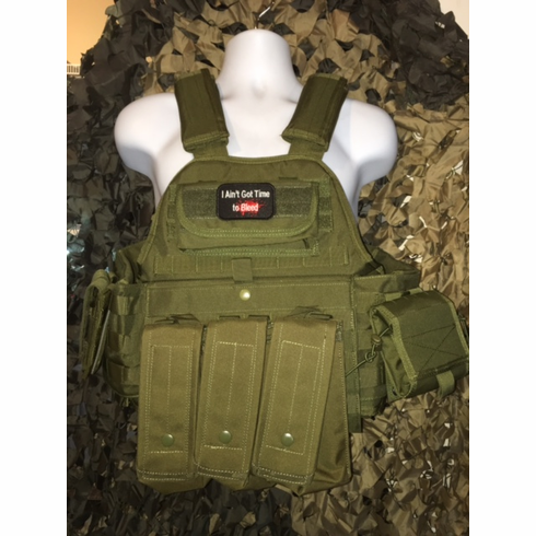 "Rothco Aint Got Time To Bleed Tactical OD Operator Plate Carrier Includes (2) 10"" x 12"" Certified AR500 NIJ Compliant Plates & 6"" x 6"" Side Plates, All MOLLE Included As Shown!"