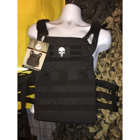 """Rothco Black Punisher Lightweight Plate Carrier, Molle and (2) 10 x 12"""" Certified AR500 NIJ Plates"""