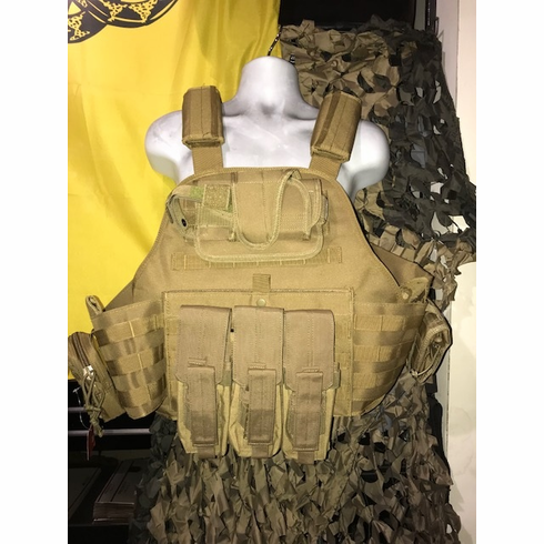 """Rothco Coyote 2XL-3XL AK Kangaroo Plate Carrier With Molle & (2) 10""""x13"""" Tactical Cut Plates & Side Plates"""