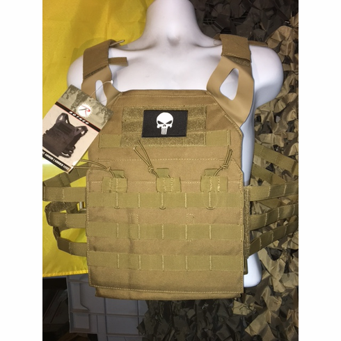"Rothco Coyote Punisher Lightweight Plate Carrier, Molle and (2) 10 x 12"" Certified AR500 NIJ Plates"