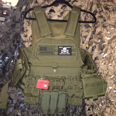 "Rothco Don't Tread On Me Tactical OD Operator Plate Carrier Includes (2) 10"" x 12"" Certified AR500 NIJ Compliant Plates & 6"" x 6"" Side Plates, All MOLLE Included As Shown!"