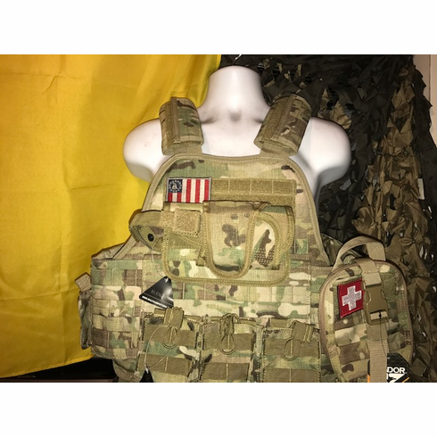 """Rothco III% Flag Multicam Plate Carrier With Molle and (2) 10 x 12"""" Certified AR500 NIJ Compliant Plates & Side Plates, Includes All Molle Shown"""