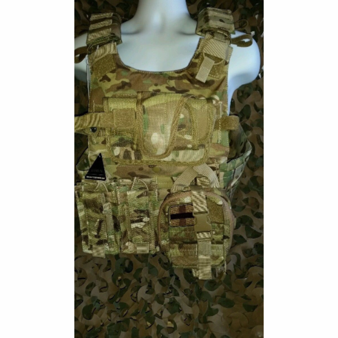 """Rothco Multicam Plate Carrier With Molle and (2) 10 x 12"""" Certified AR500 NIJ Compliant Plates & Side Plates, Includes All Molle Shown"""