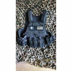 "Rothco Punisher Black Operator Plate Carrier, Includes (2) 10"" x 12"" Certified AR500 NIJ Compliant Plates & 6"" x 6"" Side Plates, All MOLLE Included As Shown!"