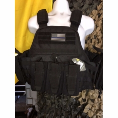 "Rothco Tac Black ""Thin Blue Line"" Kangaroo AR/Pistol Operator Plate Carrier, Molle and (2) 10 x 12"" Certified AR500 NIJ & Side Plates"