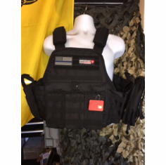 "Rothco Tac Black ""Thin Blue Line"" Operator Plate Carrier, Molle and (2) 10 x 12"" Certified AR500 NIJ & Side Plates"
