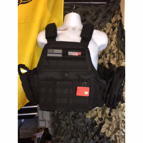 """Rothco Tac Black """"Thin Blue Line"""" Operator Plate Carrier, Molle and (2) 10 x 12"""" Certified AR500 NIJ & Side Plates"""