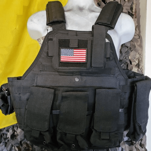 "Rothco Tactical US Flag Operator Plate Carrier, Molle and (2) 10"" x 12"" Certified AR500 NIJ Plates"