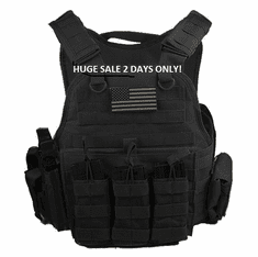 "Rothco Tactical Black Operator Plate Carrier With Molle and (2) 10 x 12"" Certified AR500 NIJ Compliant Plates"
