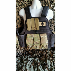 "Rothco Tactical Black Operator Plate Carrier With Multicam Molle and (2) 10 x 12"" Certified AR500 NIJ Compliant Plates & Holster, All MOLLE Included As Shown!"