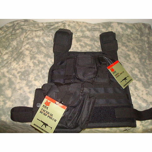 "Rothco Tactical Black Plate Carrier With Molle and (2) 10 x 12"" Certified AR500 NIJ Compliant Plates"