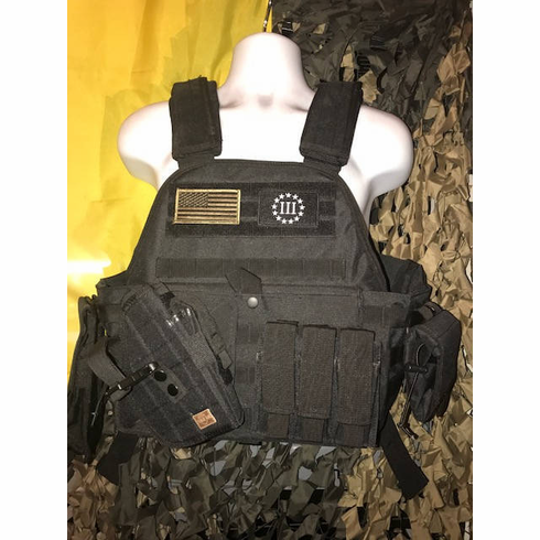 """Rothco Tactical Black Premium Operator Plate Carrier With Cross Draw, Molle and (2) 10 x 12"""" Certified AR500 NIJ Compliant, Side Plates"""