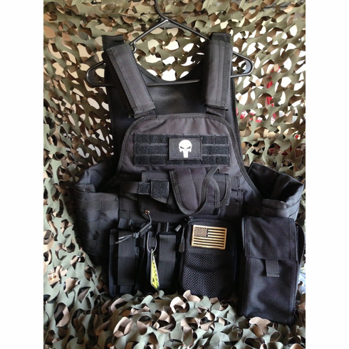 "Rothco Tactical Black ""Punisher"" Premium Operator Plate Carrier With Molle and (2) 10 x 12"" Certified AR500 NIJ Compliant Plates & Side Plates"