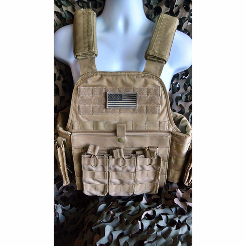 """Rothco Tactical Coyote Plate Carrier With Molle and (2) 10 x 12"""" Certified AR500 NIJ Compliant Plates"""