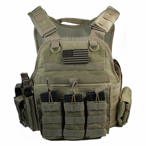 "Rothco Tactical Coyote Premium Operator Plate Carrier With Molle and (2) 10 x 12"" Certified AR500 NIJ Compliant Plates & Side Plates"