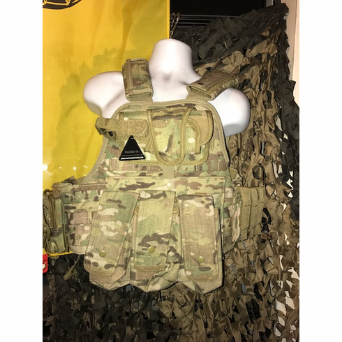 """Rothco Tactical Multicam Premium Operator Plate Carrier AK Version, Molle, Holster and (2) 10 x 12"""" Certified AR500 NIJ Compliant Plates & Side Plates"""