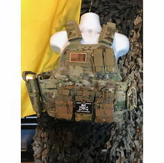 "Rothco Tactical Multicam Premium Plate Carrier AR Kangaroo Version, Molle, Holster and (2) 10 x 12"" Certified AR500 NIJ Compliant Plates"