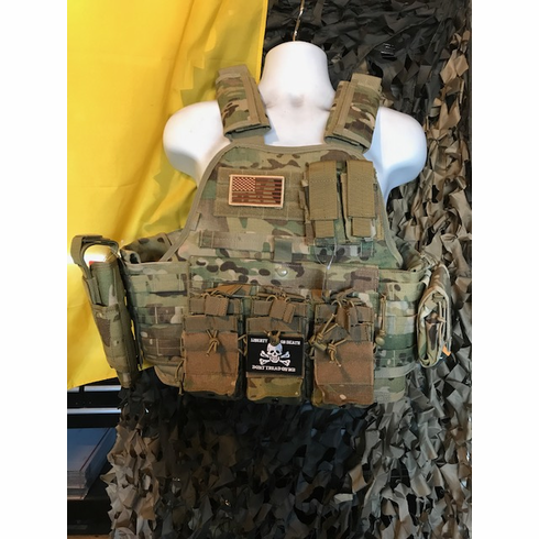 """Rothco Tactical Multicam Premium Plate Carrier AR Kangaroo Version, Molle, Holster and (2) 10 x 12"""" Certified AR500 NIJ, Side Plates"""