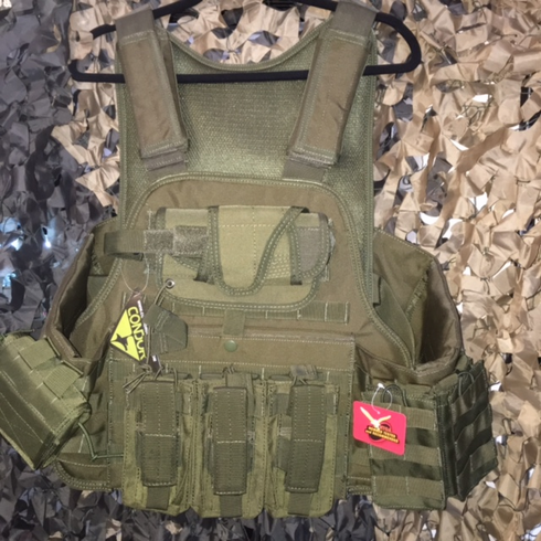 "Rothco Tactical OD Operator Plate Carrier Includes (2) 10"" x 12"" Certified AR500 NIJ Compliant Plates & 6"" x 6"" Side Plates, All MOLLE Included As Shown!"