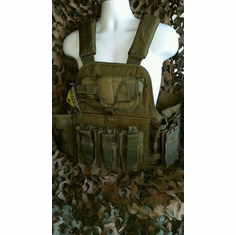 "Rothco Tactical OD Premium Operator Plate Carrier With Molle, Holster and (2) 10 x 12"" Certified AR500 NIJ Compliant Plates & Side Plates"